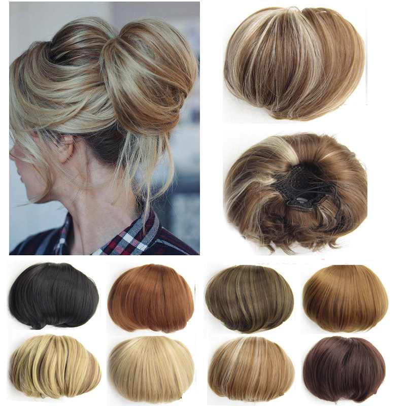 Jeedou Updos Synthetic Hair High Temperature Fiber Chignon Brown Color 85g Hair Bun Pad Donut Chignon Rubber Band Hairpieces