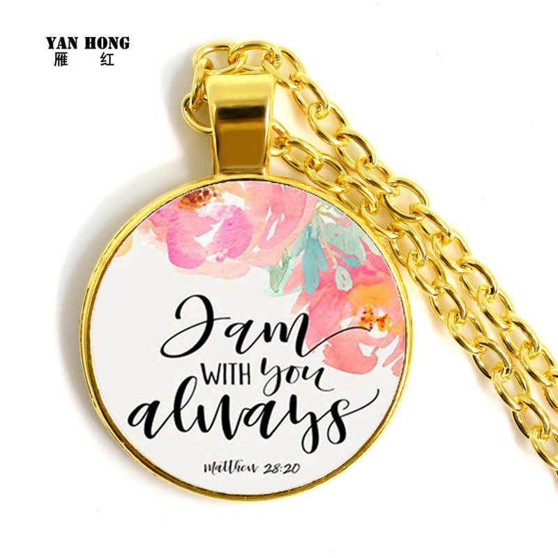 Biblical Scripture, Handmade Necklace 25mm Glass Pendant Church Best Gift for Friends Bless Peace  2019 YANHONG