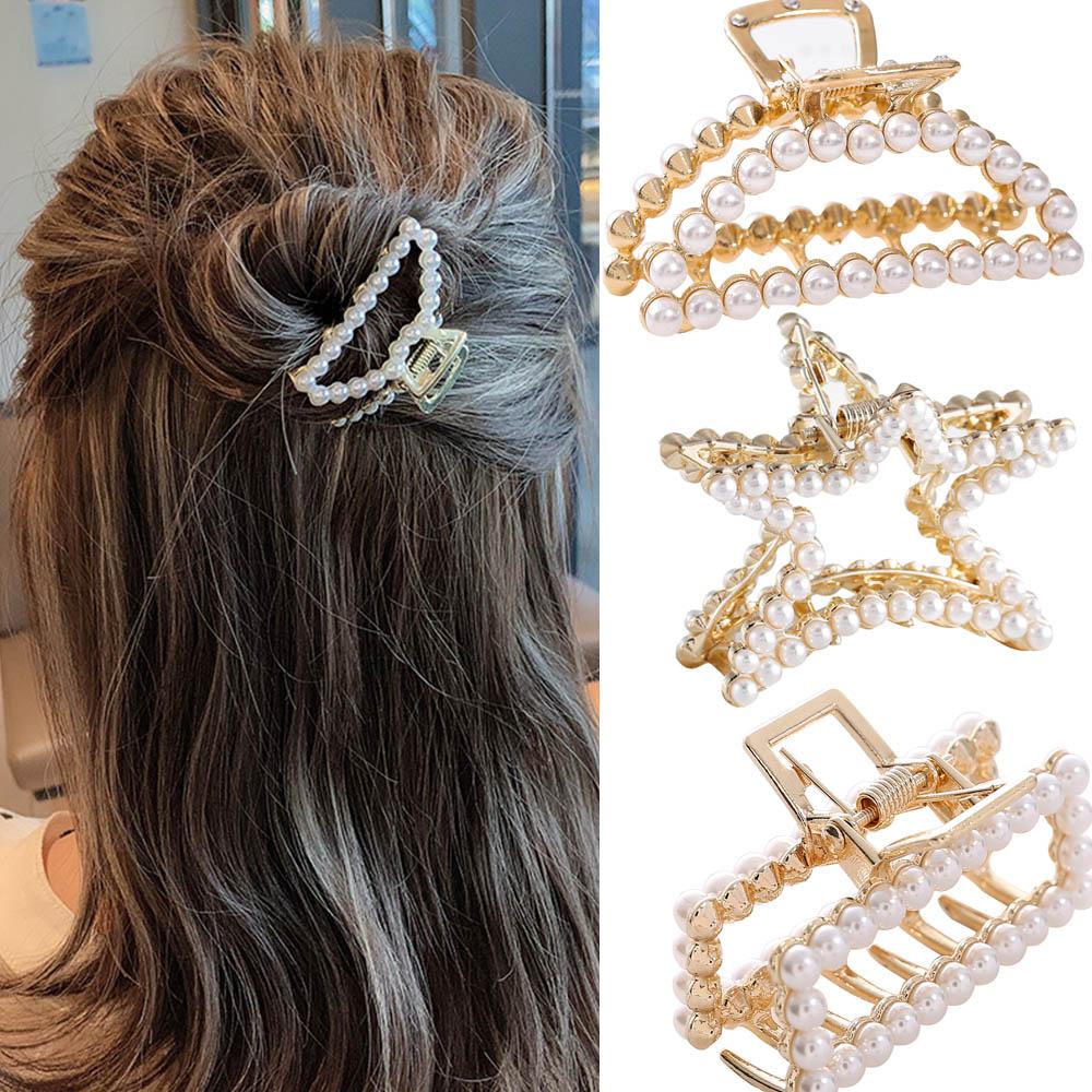 Women Big Pearls Hair Claws Geometric Hair Crab Clamp Hair Clip Claw Decor UK