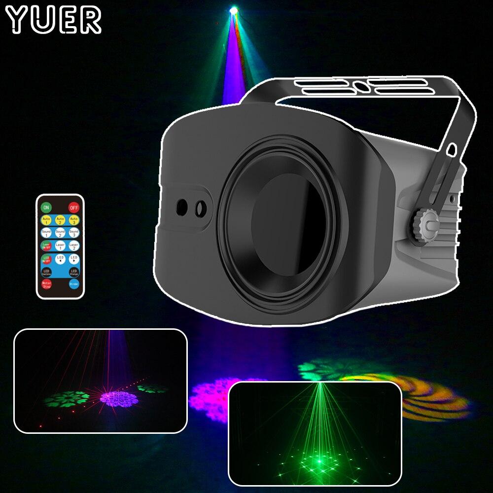 Сценический прожектор с 4 светодиодами, 48 узоров, RGBW, голосовое управление, освещение для диджея, дискотеки, бара, клуба, вечеринки, шоу, лазер...