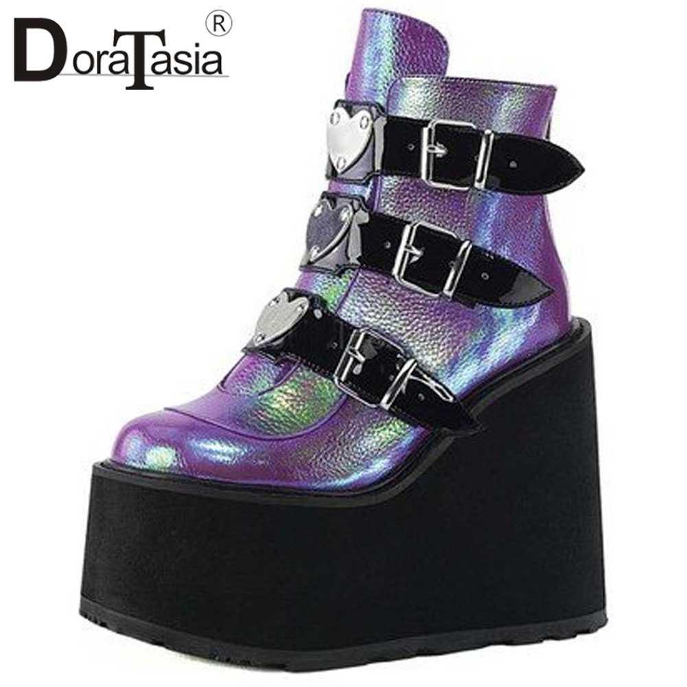 DORATASIA büyük boy 35-43 yeni moda bayanlar platformu çizmeler yüksek topuklu yarım çizmeler kadın 2020 takozlar kalın alt ayakkabı kadın