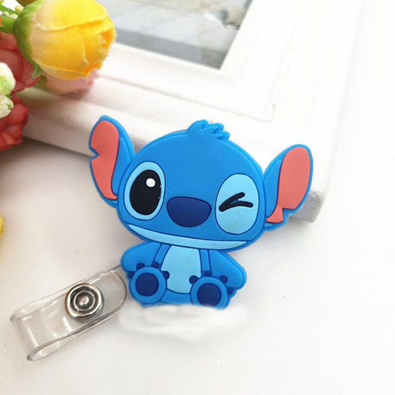 1 Pcs Cartoon Stitch Totoro Melody Cat Silicone Retractable Nurse Badge Reels Clip Students IC ID Card Badge Holders Stationery