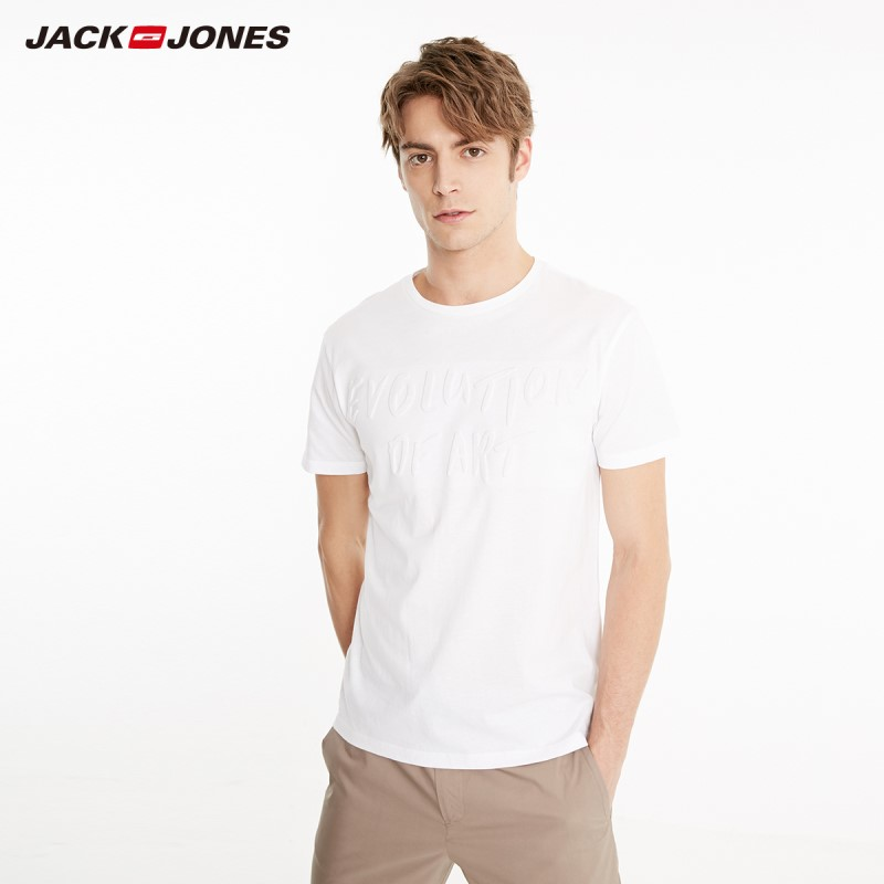 JackJones Men's 100% Cotton 3D Pure Color Letter Print Round Neckline T-shirt|Streetwear 219101543