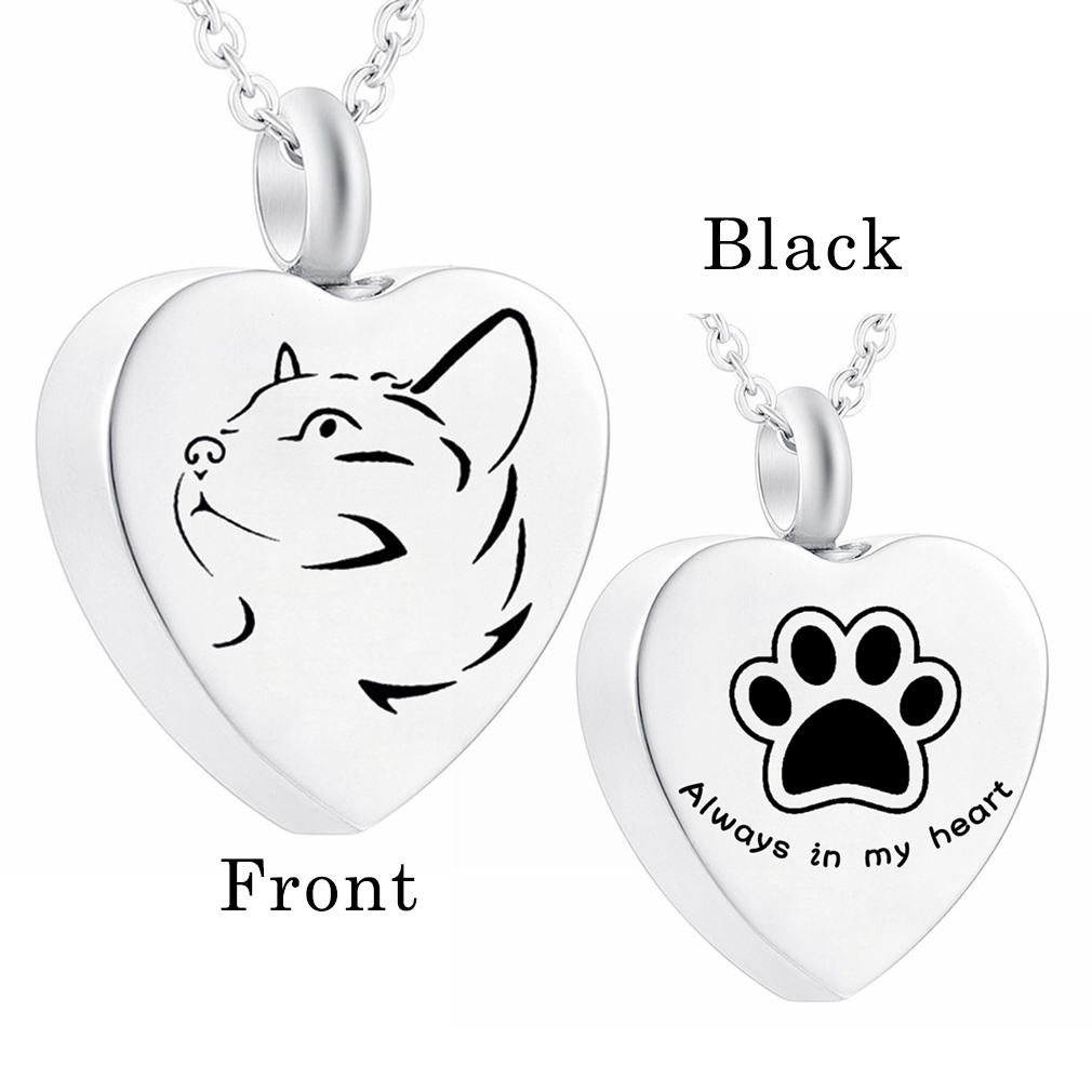 Stainless Steel  Cat Memorial Heart Pendant  , Pet Paw Print Urn Necklace For Ashes Cremation Jewelry Suit of Gift Velvet Bag