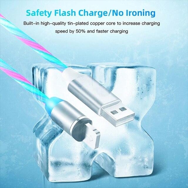 Câble magnétique de Type C dusb de lueur darc-en-ciel coulant pour le fil 2.4A de Huawei P30 Samsung S9 Micro de charge rapide pour le câble de données diphone