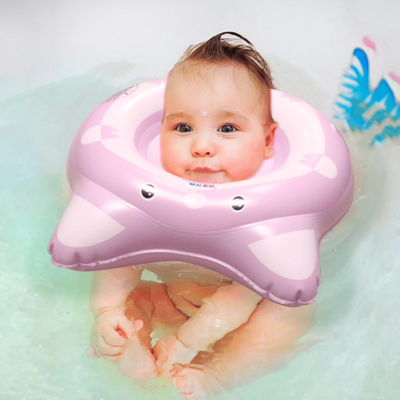 Baby Swimming Ring Newborn Inflatable Neck Circle Swim Pool Infant Float Pink Pig Bathing Toy