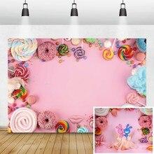 Laeacco bebé cumpleaños fotografía fondos rosa caramelo postre Donut Lollipop foto fondos estudio fotográfico recién nacido Photocall