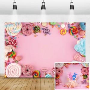 Image 1 - Laeacco Детские задние фоны для фотографий в день рождения розового цвета конфеты десерт пончик леденец фото задние фоны новорожденный фотосессия Фотостудия