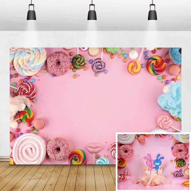 Laeacco Детские задние фоны для фотографий в день рождения розового цвета конфеты десерт пончик леденец фото задние фоны новорожденный фотосессия Фотостудия