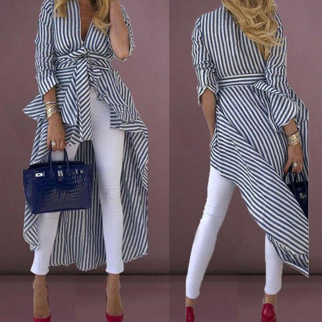 High Street Women Stripe Shirts Long Sleeve V-neck Loose Tops Blouse Striped Tied Front Dip Hem Shirt With Belt Long Shirts 4