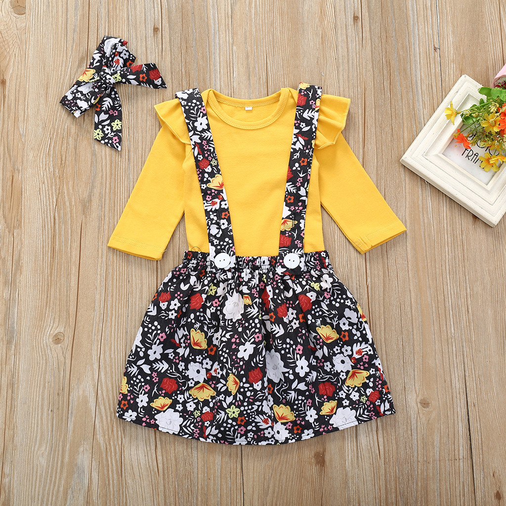 Baby Girl Ruffles Long Sleeve Romper+Floral Skirts Outfit with Heaband