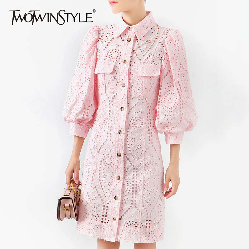 TWOTWINSTYLE Hollow Out Dress For Women Lapel Collar Lantern Sleeve High Waist Mini Dresses Female Summer Fashion OL New 2020