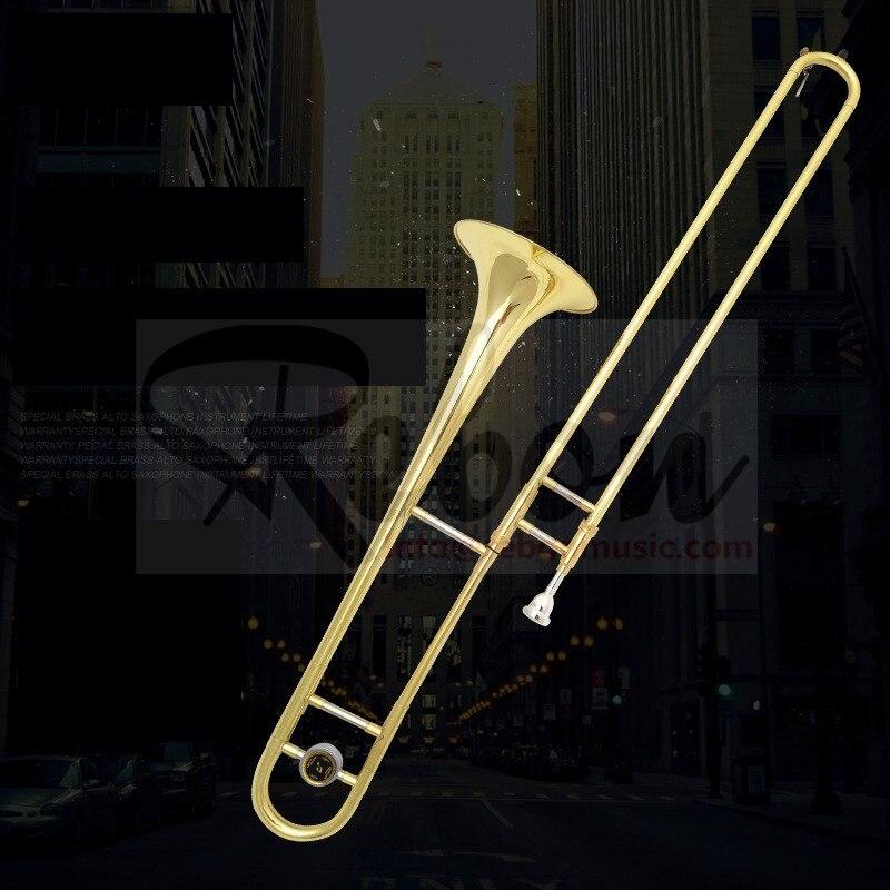Weifang rebon barato bb corrediça chave banhado a ouro tenor trombone