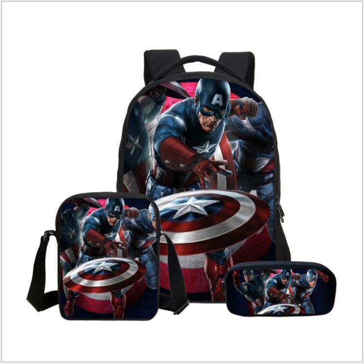 3Pcs/Set Hot Printing Cartoon Avengers Kids Baby School Bags Thanos School Backpack Hero Children Schoolbag For Boys Bookbag