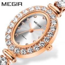 MEGIR Reloj Mujer 2018 Women Luxury Watch Rose Diamond Women Bracelet Watches Ladies Hour Montre Femme Luxe Damen Uhren Dropship