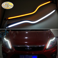For Ford Focus 2 MK2 2009 ~ 2014 Car Styling LED Headlight Brow Eyebrow Daytime Running Light DRL With Yellow Turn signal Light