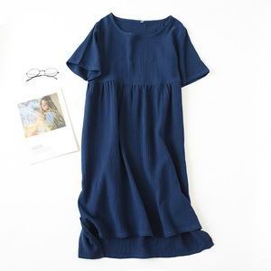 Image 4 - 夏パジャマ綿 100% クレープ半袖sleepshirtsプラスサイズルースナイトガウン女性の夜のガウンセクシーな睡眠ドレス