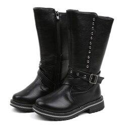 Новые зимние детские ботинки; сапоги из искусственной кожи для девочек; модные ботинки; детская обувь принцессы для девочек; Размеры 20-30 11