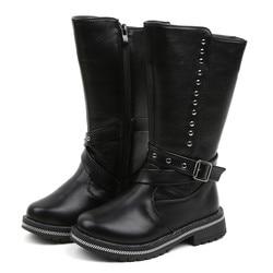 Winter Nieuwe Kinderen Laarzen Meisjes Pu Lederen Laarzen Mode Laarzen Hoge Kinderen Prinses Meisjes Schoenen Maat 20-30 11