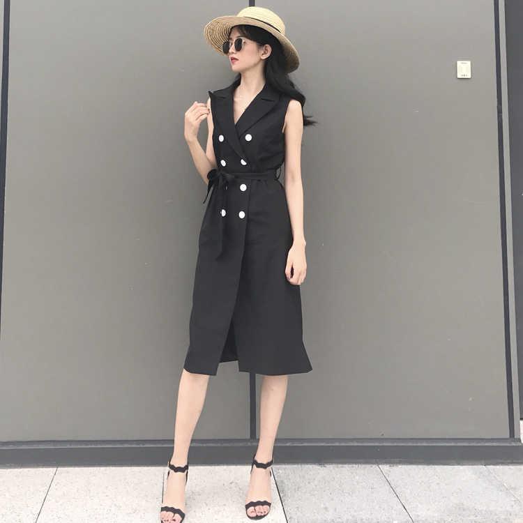 2019 2019 vrouwen herfst notched blazer vestido mujer office business gewaad femme ete tuniek sjerpen elegante zwarte jurken P197