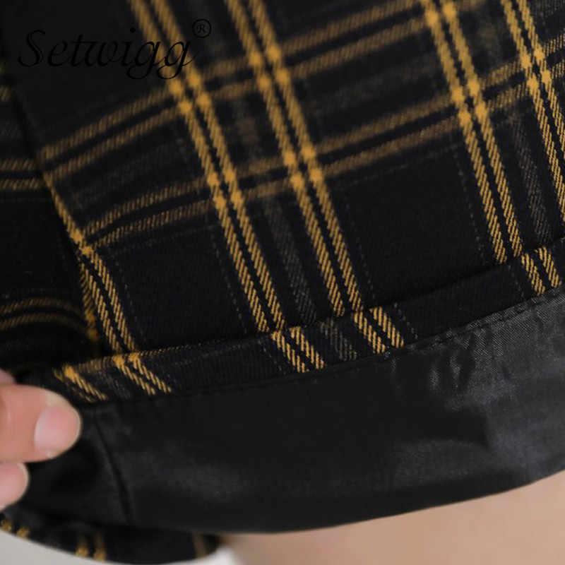 Kobiece wysokiej zwężone Vintage żółty Plaid bawełny linii krótka spódniczka szkoła dziewczyna zamek czarny sprawdź drukuj krótkie spódniczki Skorts