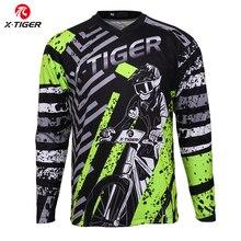X النمر طويلة الأكمام الإنحدار الفانيلة الإنحدار قميص 100% البوليستر الدراجات الفانيلة دراجة هوائية جبلية DH قميص دراجة سباق ارتداء