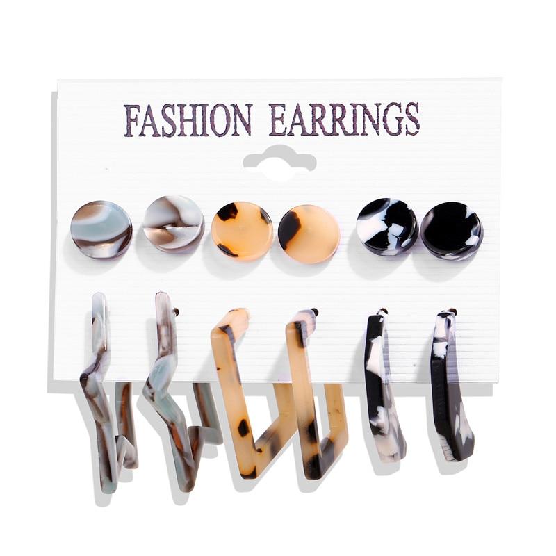 17 км акриловые серьги с кисточками для женщин, богемные серьги, набор больших геометрических висячих сережек Brincos, Женские Ювелирные изделия DIY - Окраска металла: Earrings Set 1