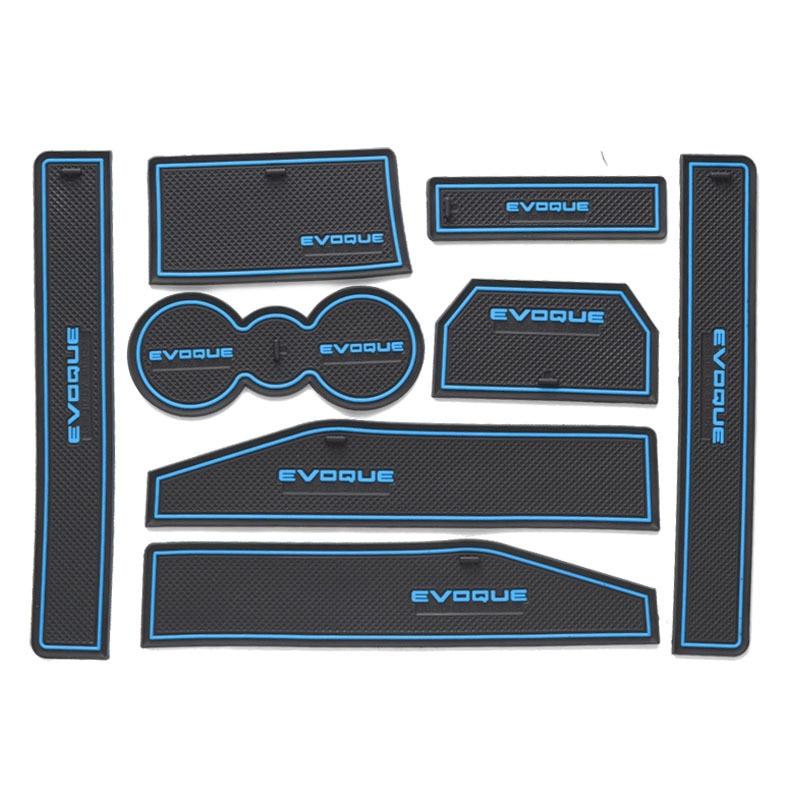 8pcs For Range Rover Evoque 2012 2018 Door Groove Mat Non Slip Rubber Interior Car Door Armrest Storage Panel Mat Car Styling