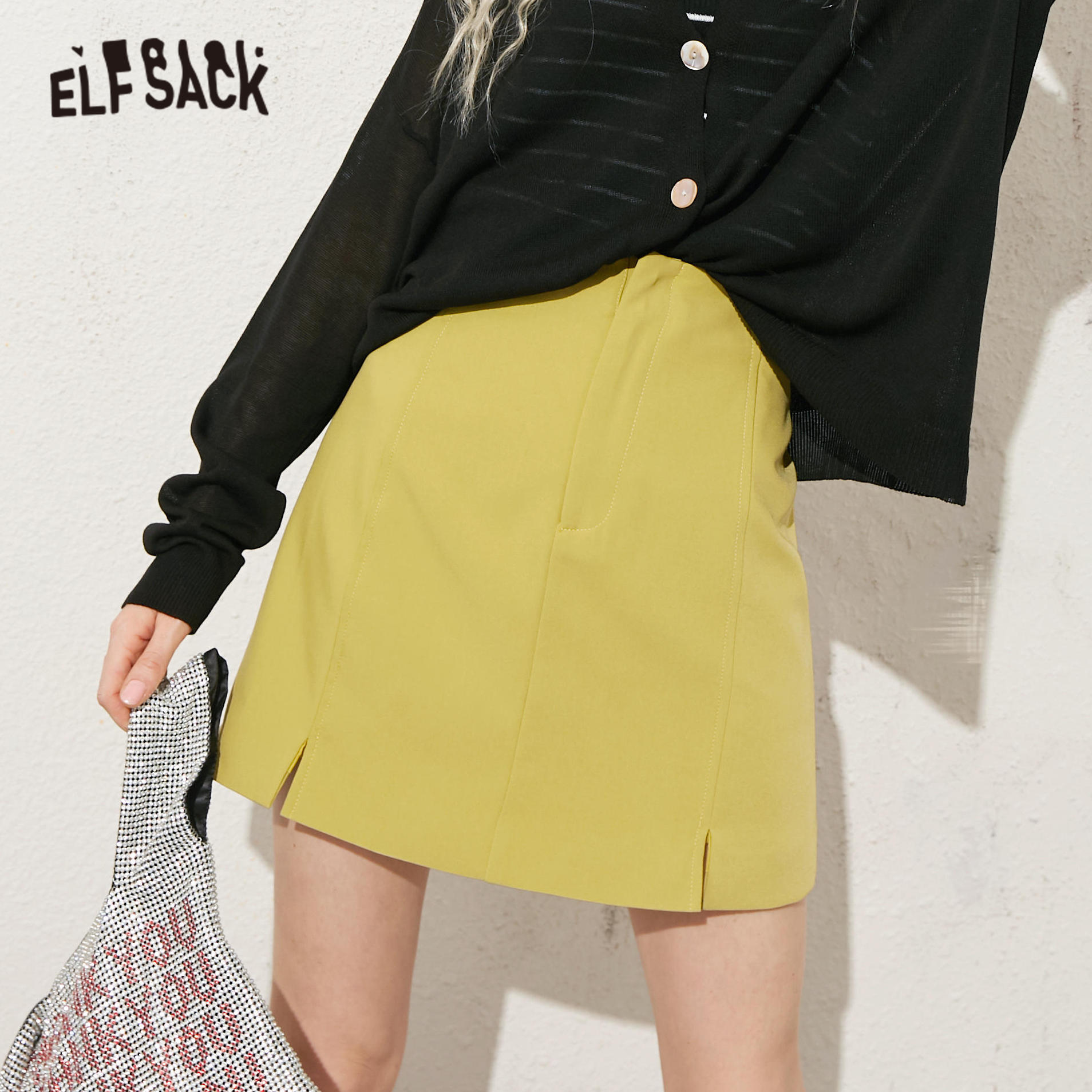 ELFSACK Black Solid Split Side Casual Women Mini Skirts 2020 ELF Summer Green Pure A Line Sexy Ladies Korean Daily Bottoms