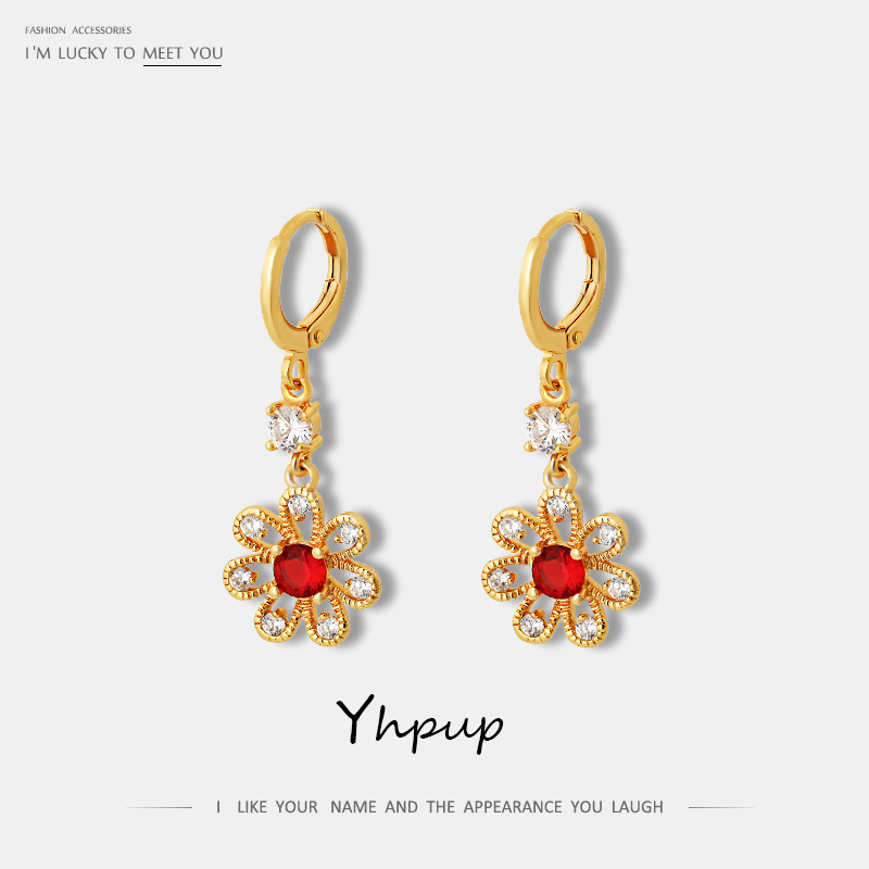 Yhpup Classic Red Bling Zircon Flower Plant Dangle Earrings Elegant Vintage Copper Gold Earrings Brincos for Female Party Gift
