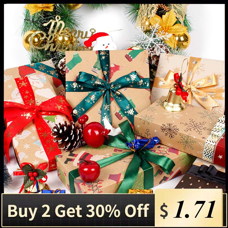 Wrapping Paper Christmas Green Decoration Craft Paper Gift Wrap Artware Packing Package Paper Gift Box Packaging Paper 1pc