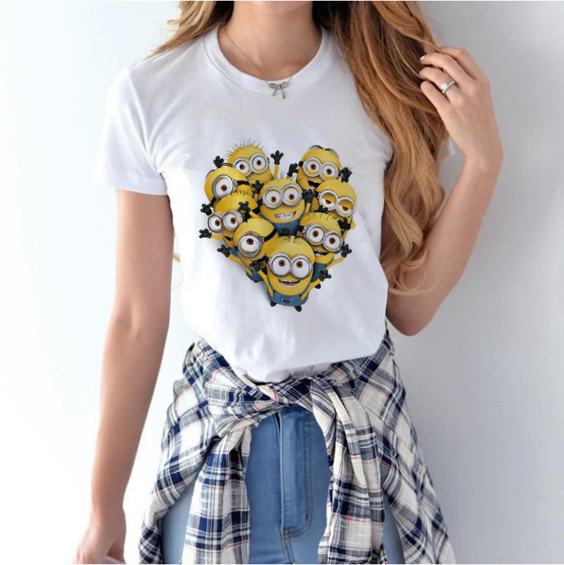 Costume T-shirt 90s Funny Lovely Minions Cartoon Print Pattern Kawaii Casual O-neck Harajuku Womens Top Tee Female Tshirt