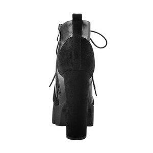 Image 2 - Onlymaker נשים פלטפורמת 13 ~ 14cm עקבים שרוכים פלוק קרסול מגפי עבה גבוהה העקב Zip עבור נשים בתוספת גודל