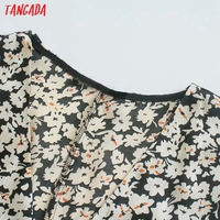 Tangada 2021 Women Flowers Print French Style Long Dress Flare Sleeve Ladies Dress 3H131 3