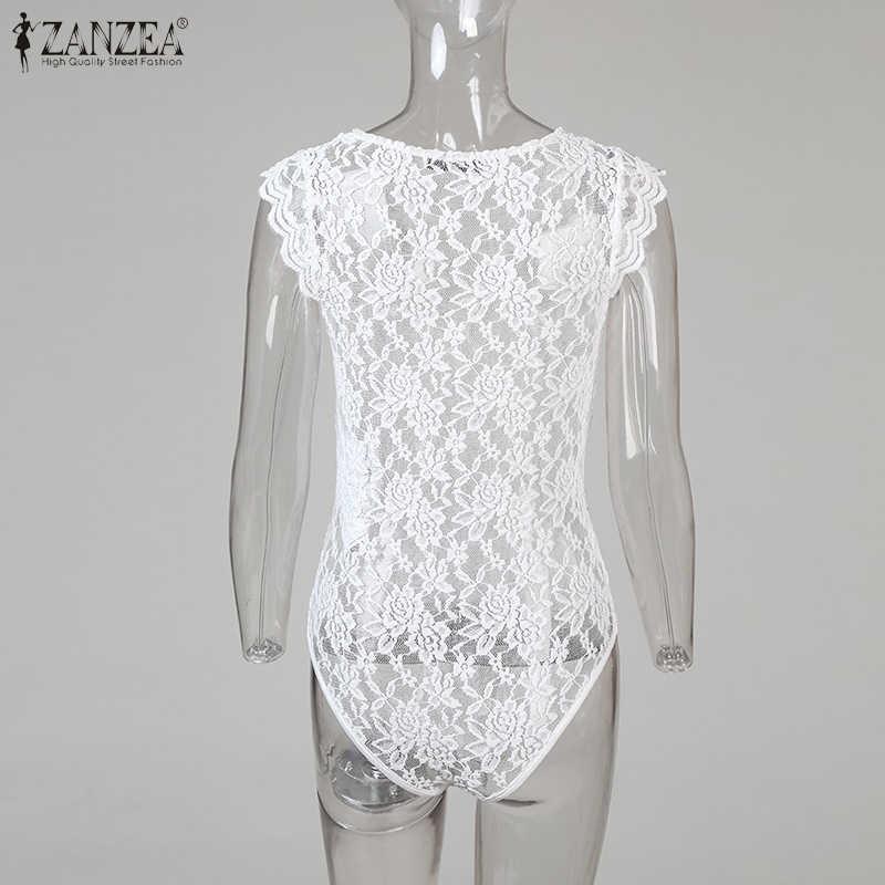 2020 yaz seksi Bodysuits ZANZEA kadınlar katı V boyun çiçek dantel tığ ince parti Bodysuit See Through tulum tulum 5XL