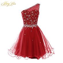 Короткое платье для выпускного вечера berylove темно красное