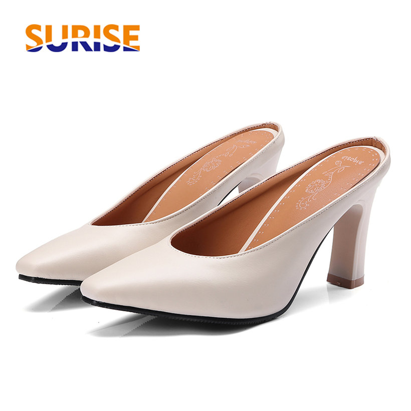 Summer Women Mules Square Toe Chunky Spike High Heel Pumps Black Beige Yellow PU Slippers Casual Party Summer Slip-on Lady Shoes