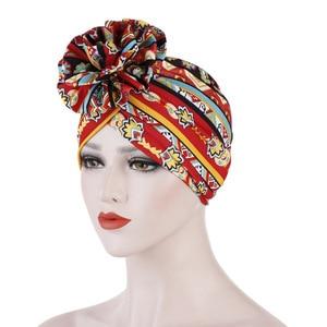 Image 5 - Helisopus algodão senhoras impresso headbands quimio boné elástico headscarf feminino muçulmano turbante beanies cabelo acessórios