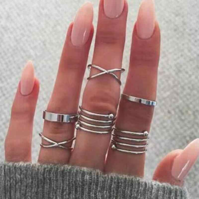 Set 2019 New Fashion Pop Glamour Gold And Silver Ring Knuckle Set For Women's Ring 6 Piece Set Of Best Selling Ring Wholesale