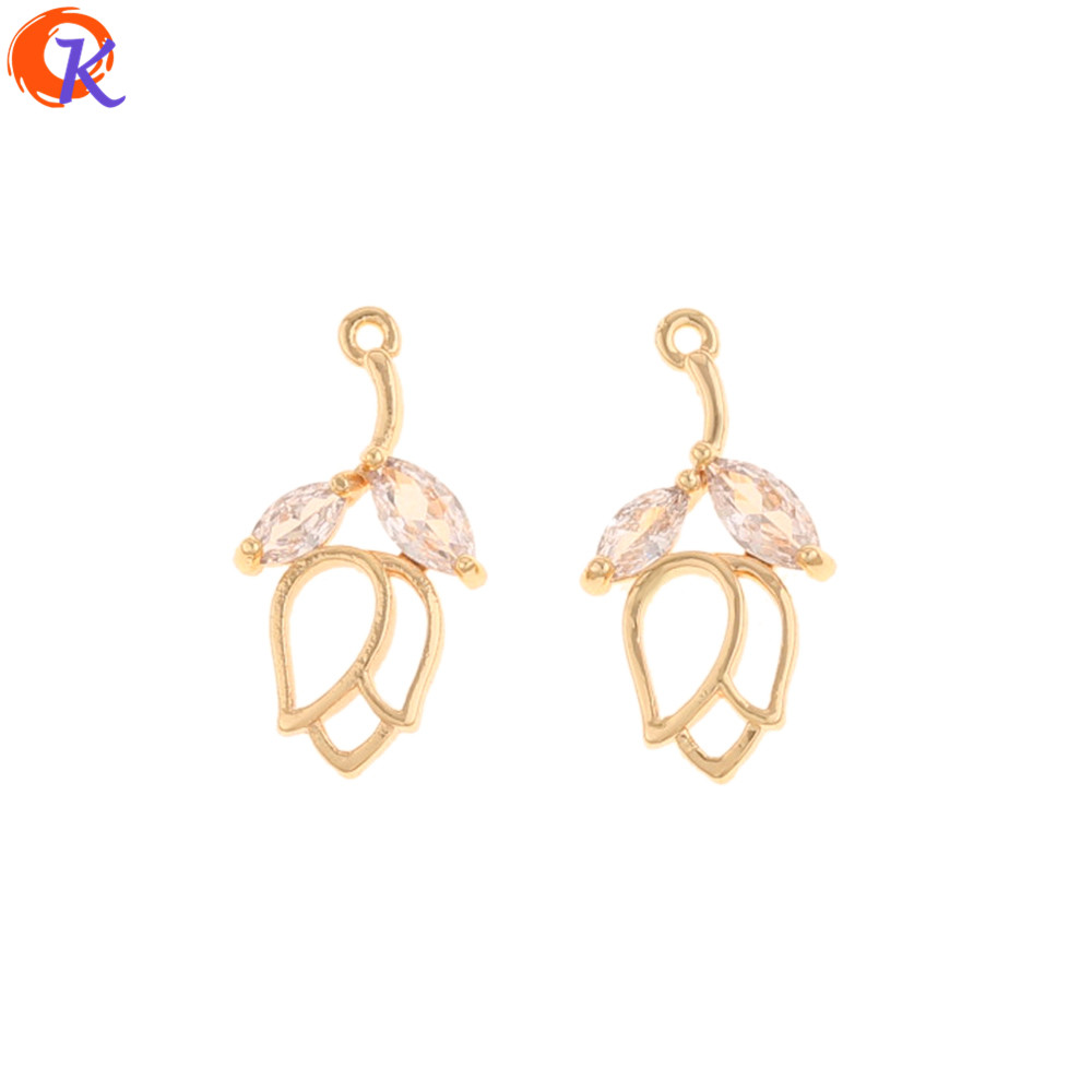 Cordial Design 30Pcs 10*19MM Jewelry Accessories/Hand Made/Genuine Gold Plating/CZ Charms/Flower Shape/DIY Earring Findings