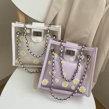 Przezroczysty torebka z pcw klasyczne tekstury kreatywny projekt elegancki stokrotka kwiat galaretki skrzynki torba na ramię z PU Composite zestaw