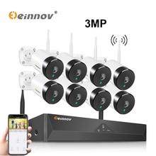 Einnov 8 канальный сетевой видеорегистратор 3 Мп IP камера наружные комплекты видеонаблюдения Wi Fi аудиокомплект Беспроводная система видеонаблюдения Wi Fi Водонепроницаемая камера