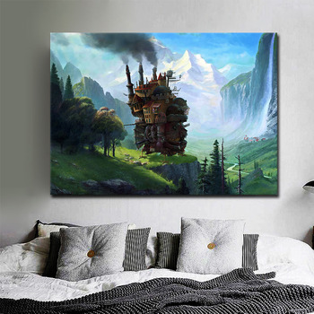 Modern Fashion Poster Canvas Print Howl's Moving Castle Movie Anime Wall Art Painting Picture Modern Living Room Home Decoratio image