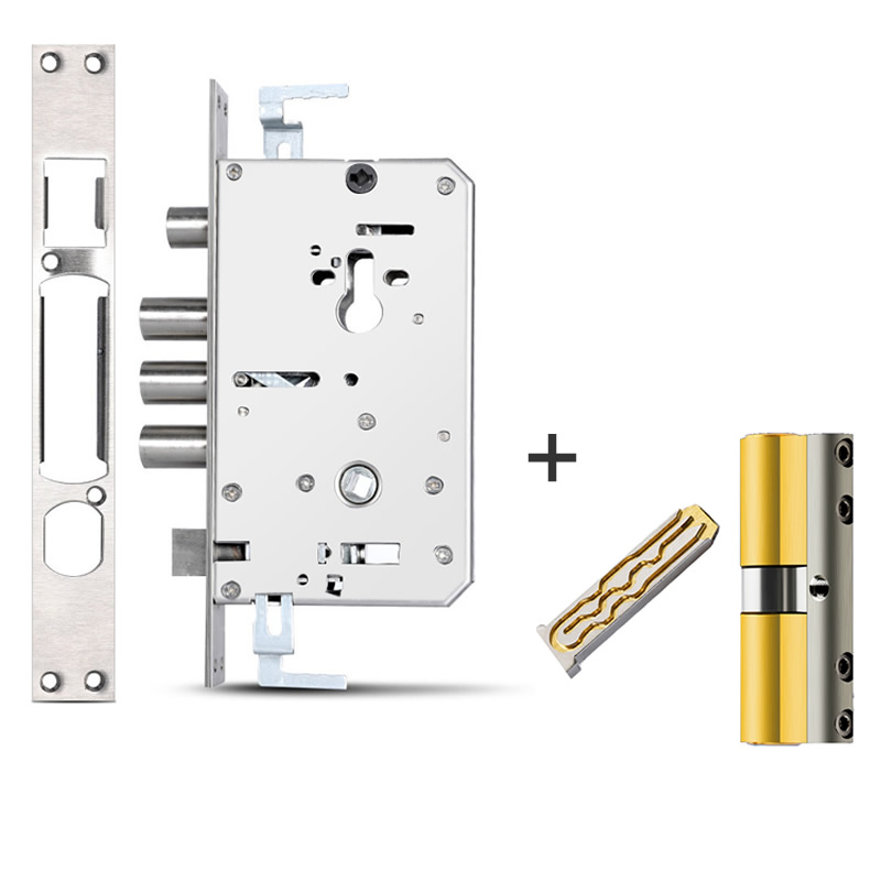 Custom Link ,Security Door Lock Body 6068,panel Size 30*240, Stainless Steel Body, And Cylinder With 10keys