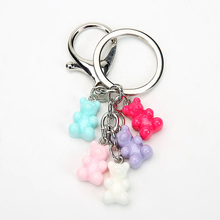 1PC resin gummy bear keychain flatback resin pendant charms resin keyring for woman jewelry