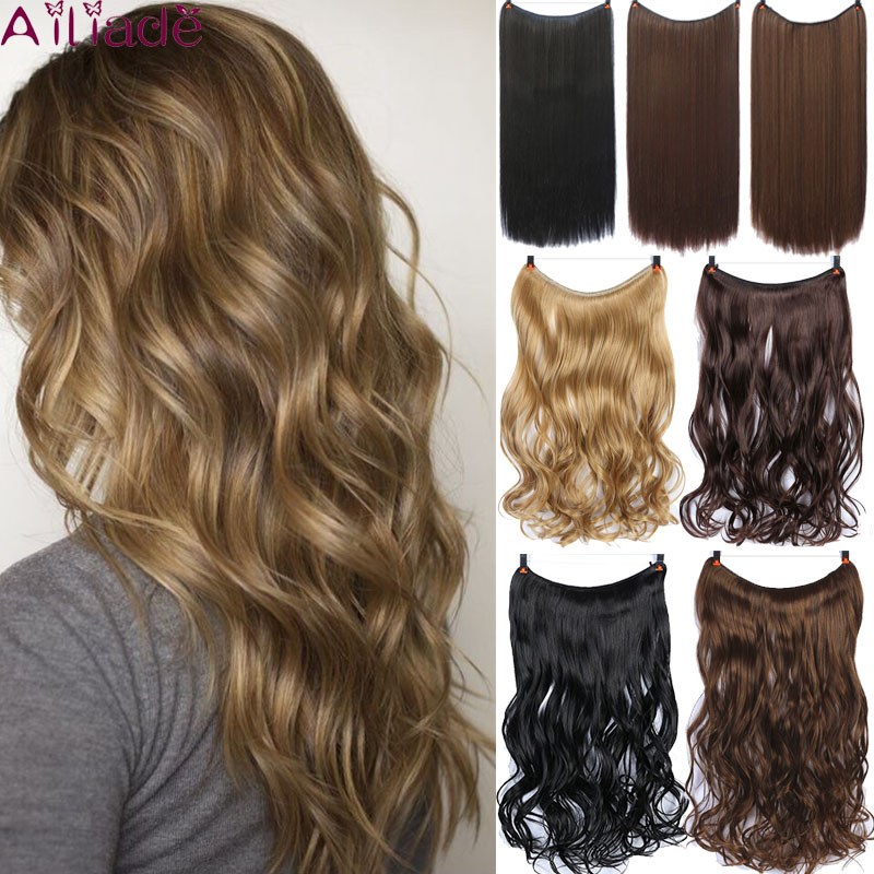 AILIADE Long Wavy Invisible Fish Line Hairpieces Wire No Clips In One Piece Synthetic Hair Extensions Fake Hair For Women 22inch
