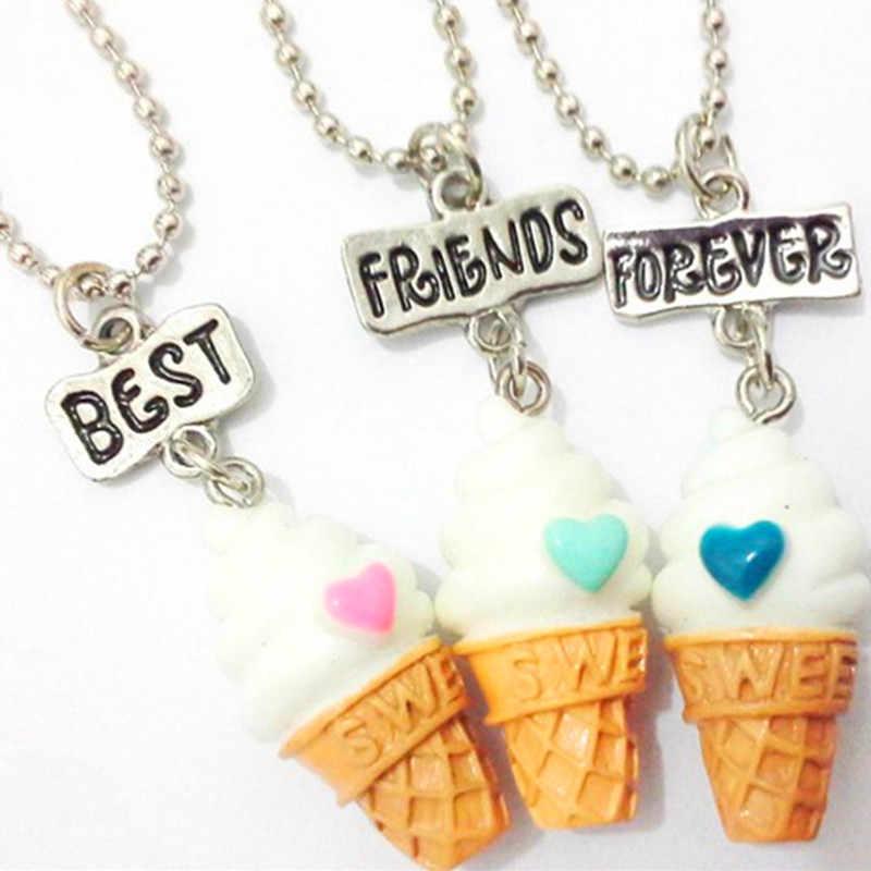 3 החברים הכי טובים יח'\סט BFF שרשרת שרשרת תליון חרוז שרף גלידה, 3 צבעים עופרת ניקל קדמיום בחינם תכשיטי ילדים
