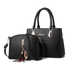 Bolsa feminina moda casual conter dois pacotes de luxo bolsa designer sacos de ombro novos sacos para as mulheres 2019 saco composto bolsos