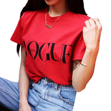 Женская футболка, модная красная футболка с надписью Vogue, женская одежда в Корейском стиле, женские футболки с коротким рукавом, повседневные топы, футболка, женская футболка