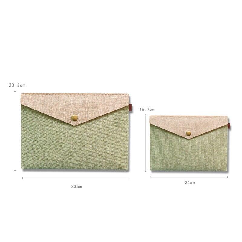 A4 A5 Simple Elegant Imitation Linen Magnetic Buckle File Bag Canvas Felt File Bag Portfolio Office Study Bag Stationery Folder